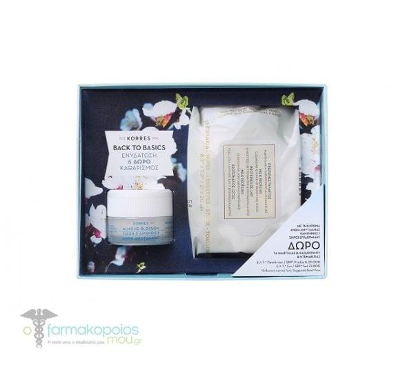 Korres Σετ Προσφοράς για Κανονικές/Ξηρές Επιδερμίδες με Κρέμα Ενυδάτωσης & Προστασίας Άνθη Αμυγδαλιάς, 40ml & ΔΩΡΟ Μαντηλάκια Καθαρισμού & Ντεμακιγιάζ Πρωτείνες Γάλακτος, 25 τεμάχια