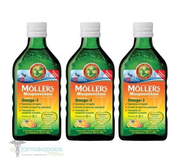 3 x Moller's Cod Liver Oil in Tutti Frutti in liquid form with Fruit flavor, 3 x 250ml