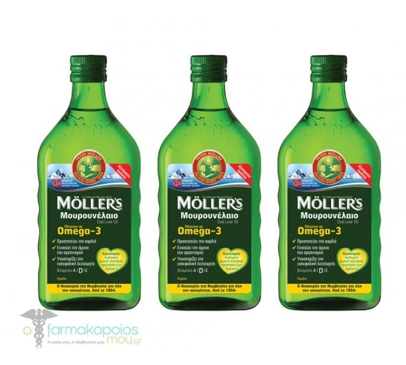 3 x Moller's Cod Liver Oil Lemon in liquid form with Lemon flavor, 3 x 250ml