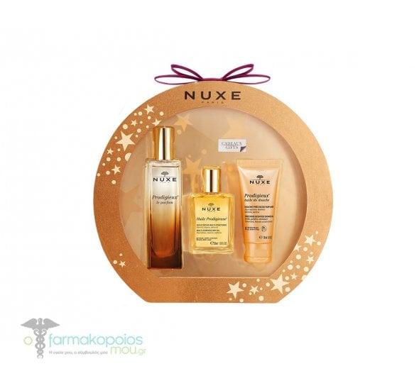 Nuxe GIFT PACK με Prodigieux Le Parfum Γυναικείο Άρωμα, 50ml Huile Prodigieuse Ξηρό Λάδι Ενυδάτωσης, 30ml & Prodigieux Huile de Douche Ντελικάτο Αφρόλουτρο για Μεταξένια Αίσθηση, 30 ml