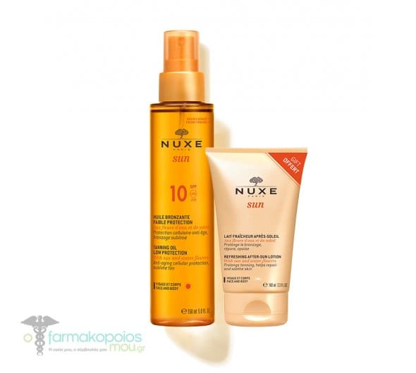Nuxe Sun PROMO Huile Bronzante SPF10 Faible Protection Tanning Oil for Face & Body, 150ml & GIFT Lait Fraicheur Apres Soleil Visage et Corps After Sun Lotion for Face & Body, 100 ml