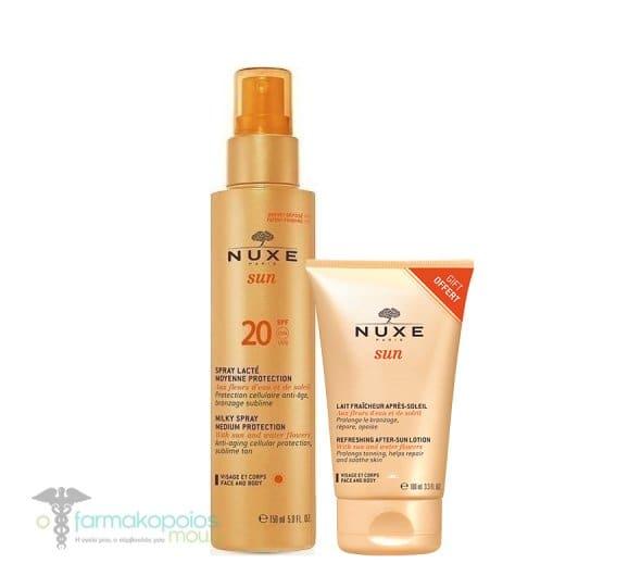 Nuxe Sun PROMO Spray Lacte Visage et Corps Moyenne Protection SPF20 Sunscreen Emulsion for Face & Body, 150ml & GIFT Lait Fraicheur Apres Soleil Visage et Corps After Sun Lotion for Face & Body, 100 ml