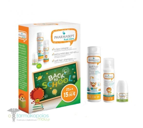 Pharmasept Back to School Pack με X-lice Αντιφθειρική Λοσιόν, 100ml & Extra Mild Αποσμητικό για Παιδιά, 50ml & Soft Hair Παιδικό Σαμπουάν, 300ml