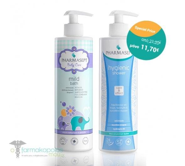 Pharmasept PROMO Baby Care Mild Bath Βρεφικό Αφρόλουτρο, 500ml & ΜΑΖΙ Hygienic Shower Αφρόλουτρο με Αντισηπτική δράση, 500ml
