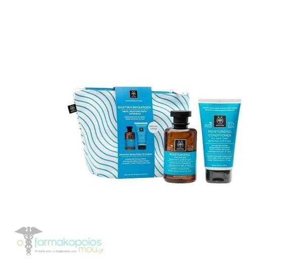 Apivita PROMO με Moisturizing Shampoo Σαμπουάν Ενυδάτωσης με Υαλουρονικό Οξύ & Αλόη για Όλους τους Τύπους Μαλλιών, 50ml & Moisturizing Conditioner Μαλακτική Κρέμα Ενυδάτωσης για Όλους τους Τύπους Μαλλιών με Υαλουρονικό Οξύ & Αλόη, 50ml σε Πρακτικό Νεσεσέρ