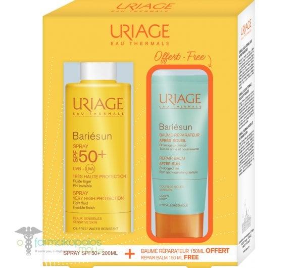 Uriage PROMO PACK Bariesun Spray SPF50+, 200ml & FREE Repair Balm After Sun, 150ml