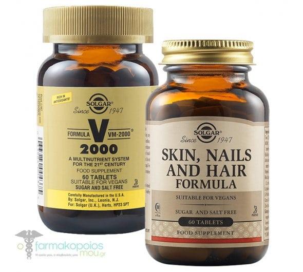 Πακέτο Προσφοράς Solgar Skin, Nails & Hair Formula Φόρμουλα για την Υγεία των Μαλλιών, του Δέρματος & των Νυχιών, 60tabs & Solgar Formula VM 2000 Πολυβιταμίνη για Ενέργεια & Τόνωση του Οργανισμού, 60tabs