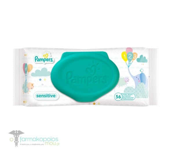 Pampers Sensitive Wipes Μωρομάντηλα για την Αλλαγή Πάνας - Ανταλλακτικό, 56 τεμάχια