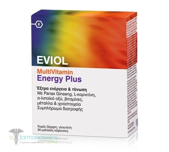 Eviol MultiVitamin Energy Plus Συμπλήρωμα Διατροφής για την Παραγωγή & Απελευθέρωση Ενέργειας στον Οργανισμό, 30 caps