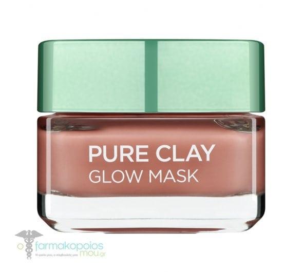 L'oreal Paris Pure Clay Glow Mask Μάσκα Αργίλου για Απολέπιση & Λείανση, 50ml