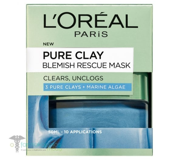 L'oreal Paris Pure Clay Blemish Rescue Mask Mask for Intensive Cleansing & Decongesting, 50ml