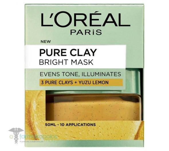 L'oreal Paris Pure Clay Bright Mask Μάσκα Αργίλου για Ομοιόμορφο Τόνο & Λάμψη, 50ml