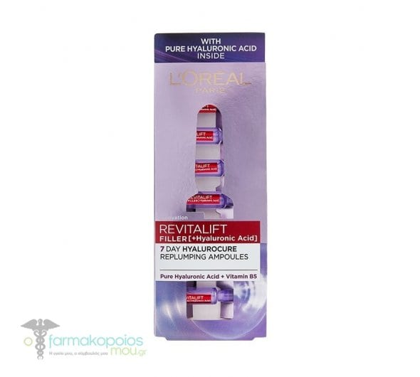 L'oreal Paris Revitalift Filler 7 Day Cure Ampoules for Intensive Moisturizing & Firming Skin, 7amps