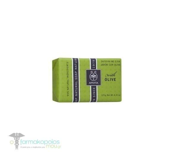 APIVITA Φυσικό Σαπούνι με Ελιά για την υγεινή της ξηρής επιδερμίδας, Μπάρα σαπουνιού 125gr