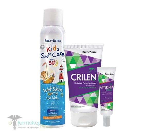 Frezyderm Family Summer Pack με Kids Sun Care Wet Skin Spray SPF50+ Αντηλιακό Spray για Παιδιά, 200ml & Crilen Ενυδατικό Εντομοαπωθητικό Γαλάκτωμα, 125ml & Crilen After Nip Απαλό Gel για το Ερεθισμένο Δέρμα από το Τσίμπημα Εντόμων, 30ml