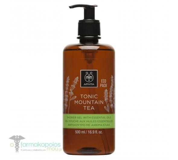 Apivita Eco Pack Tonic Mountain Tea Shower Gel with Essential Oils Αφρόλουτρο Με Πράσινο Τσάι & Αιθέρια Έλαια, 500ml