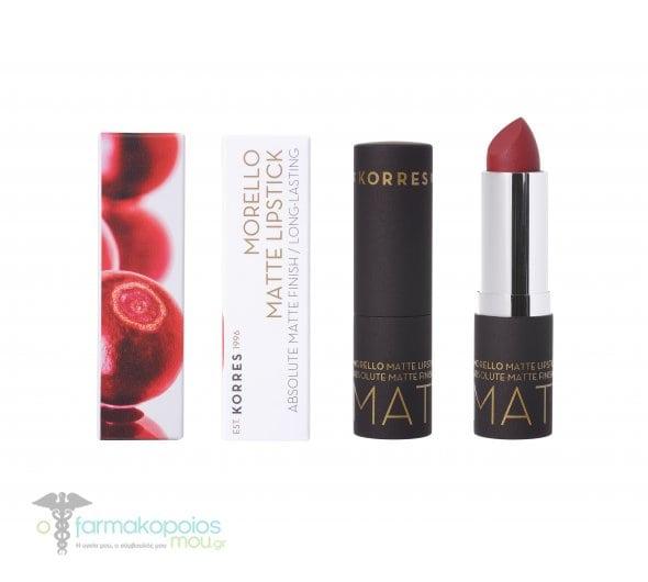 Korres Morello Matte Lipstick 59 Burgundy Red Ματ κραγιόν με κρεμώδη υφή, 3.5ml