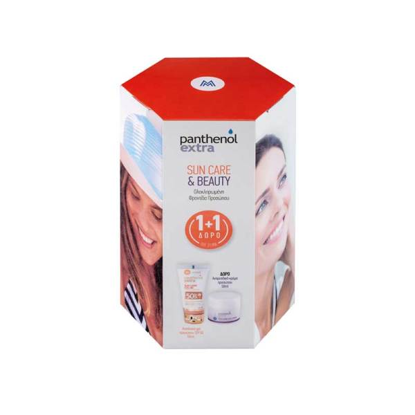 Panthenol Extra PROMO με Sun Care Colour SPF50 Face Gel Έγχρωμη Αντηλιακή Κρέμα-Gel Προσώπου, 50ml & ΔΩΡΟ Face & Eye Cream 24ωρη Αντιρυτιδική Κρέμα με Υαλουρονικό Οξύ για Πρόσωπο & Μάτια, 50ml