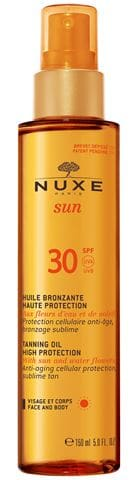 Nuxe Sun Huile Bronzante Visage et Corps Haute Protection SPF30 Λάδι Μαυρίσματος για Πρόσωπο & Σώμα, 150ml
