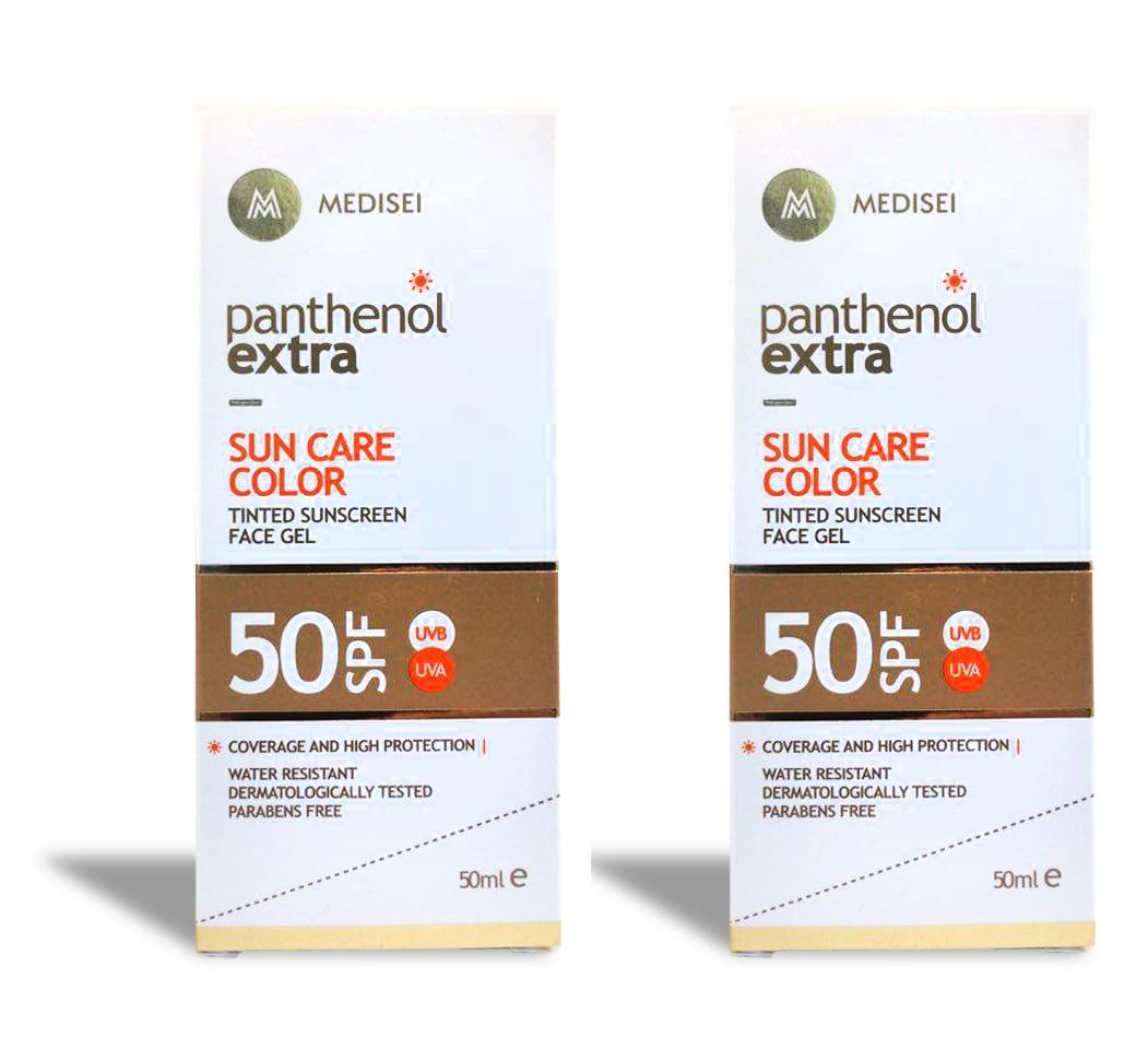 2 x Panthenol Extra Sun Care Color SPF50 Έγχρωμο Αντιηλιακό Gel Προσώπου, 2 x 50ml