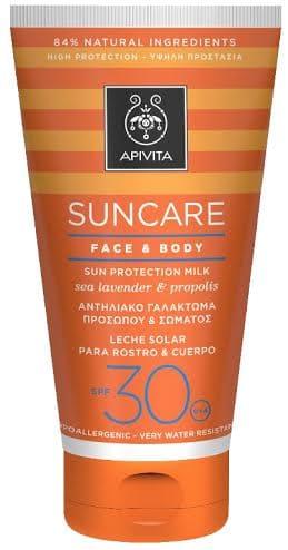 Apivita Suncare Face & Body SPF30 Αντιηλιακό Γαλάκτωμα προσώπου & σώματος, με Θαλάσσια Λεβάντα & Πρόπολη, 150ml