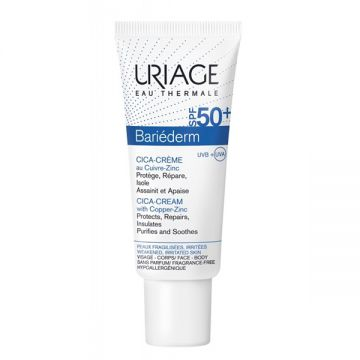 Uriage Bariederm SPF50+ Cica-Cream with Cu-Zn Αναπλαστική και Επανορθωτική Κρέμα Προσώπου και Σώματος με Αντιηλιακή Προστασία, 40ml