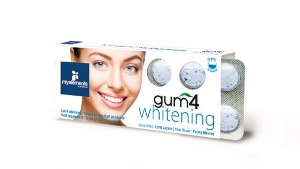 MyElements Gum 4 Whitening Λειτουργική τσίχλα με Υπεροξέιδιο & Οξείδιο του Μαγνησίου & Προβιοτικά για Λευκά Δόντια, με γεύση μέντας, 10 gums
